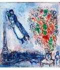 Marc Chagall - Sposi a Parigi. Stampa su tela