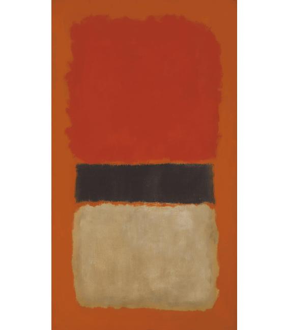Stampa su tela: Mark Rothko - Black Stripe (Orange, Gold and Black)