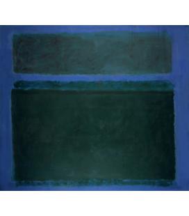 Stampa su tela: Mark Rothko - Blackish Green Tone on Blue