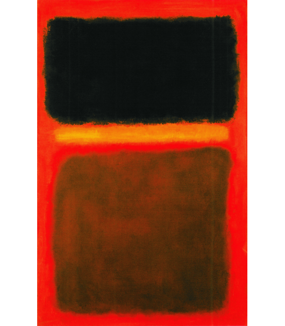 Stampa su tela: Mark Rothko - Black, yellow, brown on red