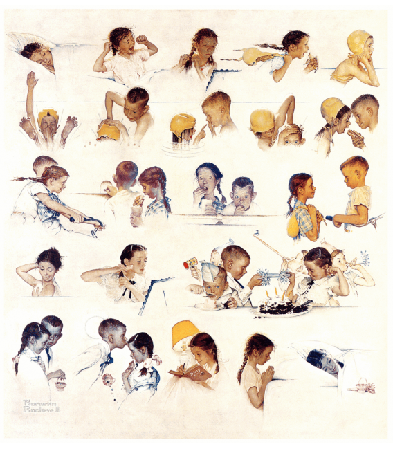 Stampa su tela: Norman Rockwell - A Day in the Life of a Boy