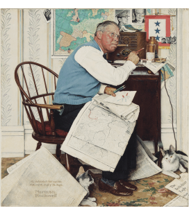 Stampa su tela: Norman Rockwell - Armchair General (Man Charting War Maneuvers)