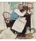 Printing on canvas: Norman Rockwell - Armchair General (Man Charting War Maneuvers)