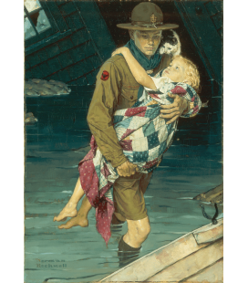Stampa su tela: Norman Rockwell - A Scout is Helpful