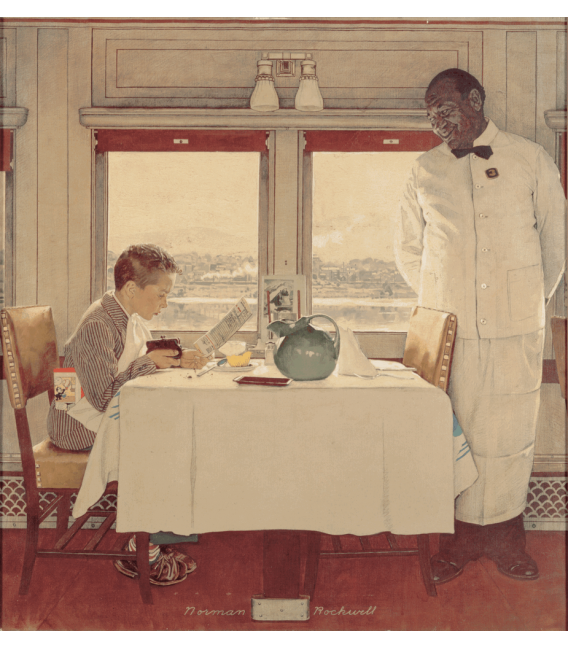 Stampa su tela: Norman Rockwell - Boy in a Dining Car