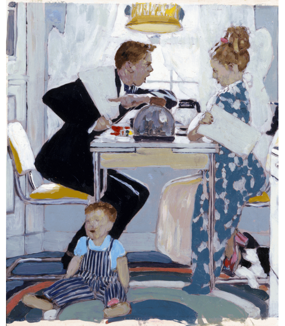 Stampa su tela: Norman Rockwell - Breakfast table political argument