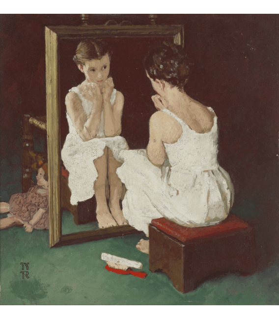 Printing on canvas: Norman Rockwell - Color Study for girl at mirror