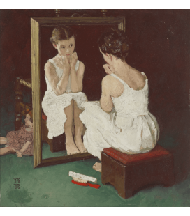 Norman Rockwell - Color Study for girl at mirror. Printing on canvas