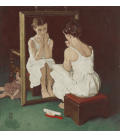 Stampa su tela: Norman Rockwell - Color study for girl at mirror