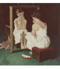 Norman Rockwell - Studio a colori per una ragazza allo specchio Stampa su tela