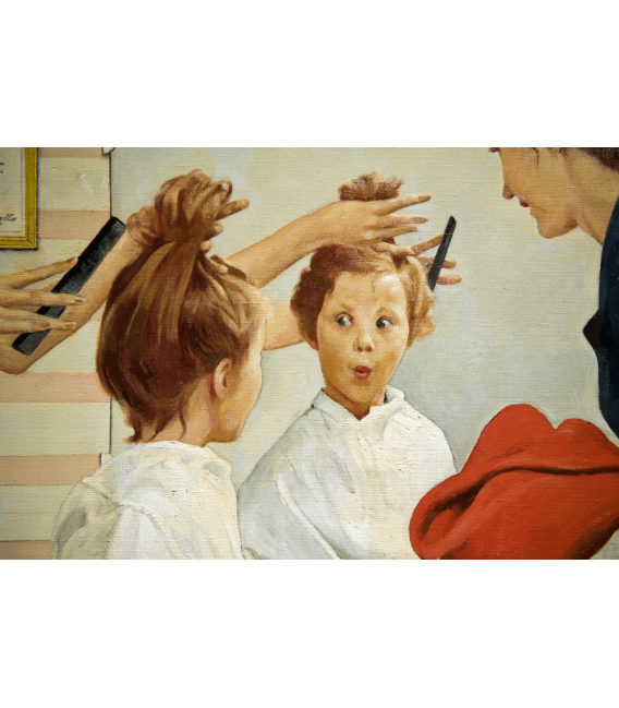 Printing on canvas: Norman Rockwell - Cutting Hair on Little Girl