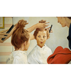 Norman Rockwell - Cutting Hair on Little Girl. Printing on canvas
