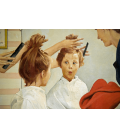 Stampa su tela: Norman Rockwell - Cutting Hair on Little Girl