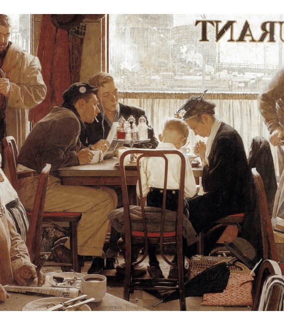 Stampa su tela: Norman Rockwell - Diner
