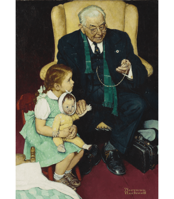 Printing on canvas: Norman Rockwell - Doctor and Doll