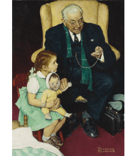 Stampa su tela: Norman Rockwell - Doctor and Doll
