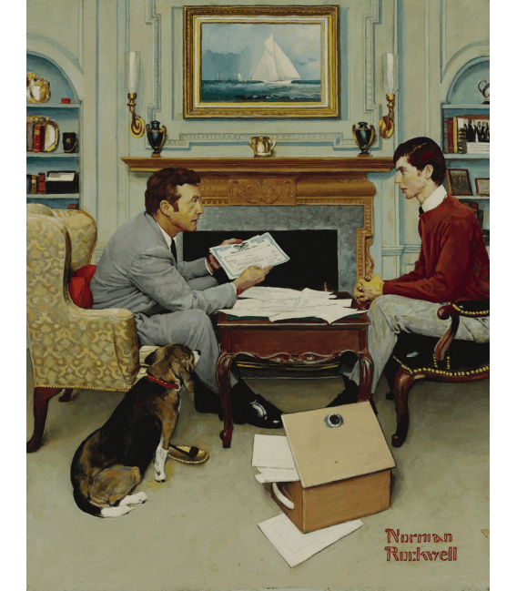 Printing on canvas: Norman Rockwell - Father and son