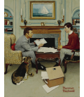 Stampa su tela: Norman Rockwell - Father and son