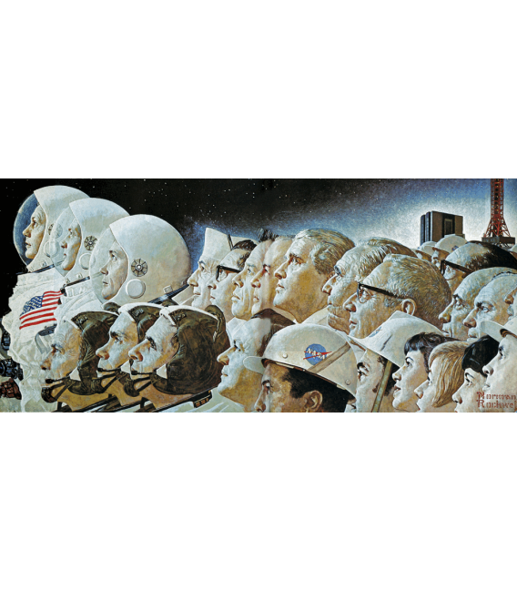Stampa su tela: Norman Rockwell - From the Earth to the Moon