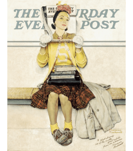 Stampa su tela: Norman Rockwell - Girl reading the Post