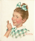 Stampa su tela: Norman Rockwell - Girl with String