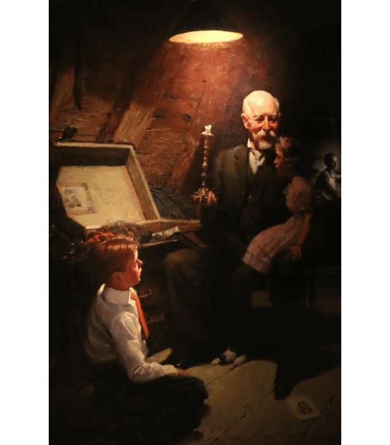 Stampa su tela: Norman Rockwell - Grandpa's Treasure Chest