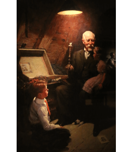 Stampa su tela: Norman Rockwell - Grandpa's Treasure Chest