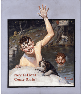 Stampa su tela: Norman Rockwell - Hey Fellers come on in