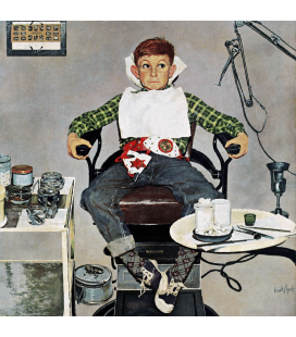Stampa su tela: Norman Rockwell - In the Dentist's Chair