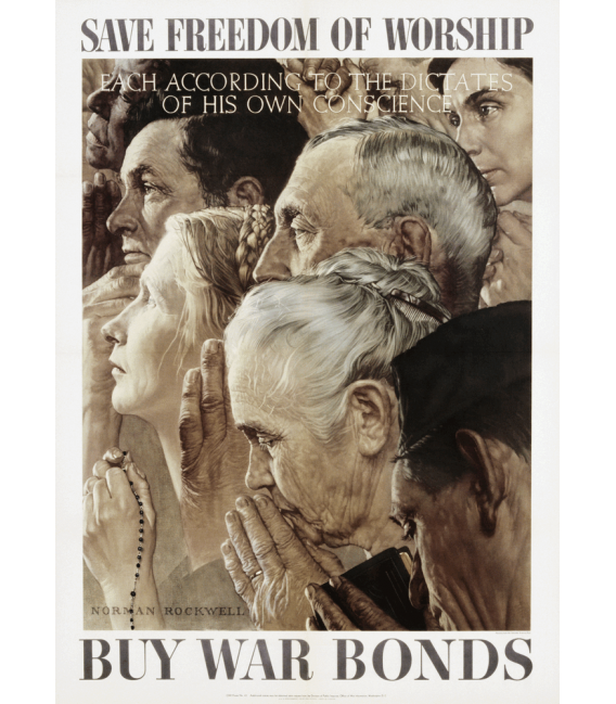 Stampa su tela: Norman Rockwell - Libertà di Culto Poster