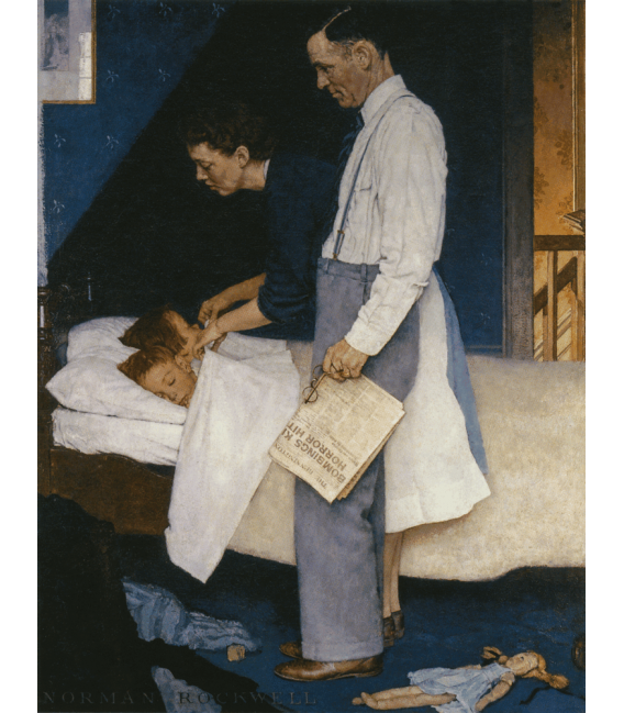 Stampa su tela: Norman Rockwell - Libertà dalla Paura - Freedom from Fear