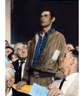 Norman Rockwell - Libertà di Parola - Freedom of Speech. Stampa su tela