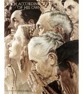 Norman Rockwell - Libertà di Culto - Freedom of Worship. Stampa su tela