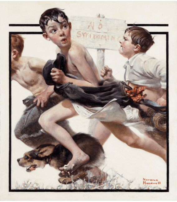 Printing on canvas: Norman Rockwell - No swimming