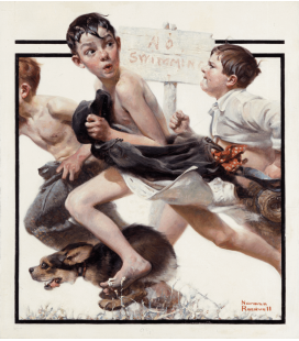 Stampa su tela: Norman Rockwell - No swimming