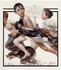 Stampa su tela: Norman Rockwell - No swimming