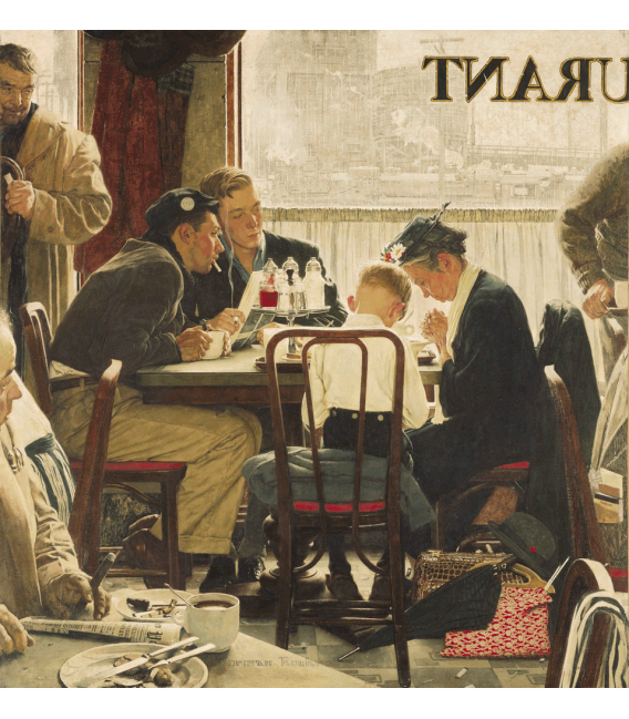Printing on canvas: Norman Rockwell - Saying Grace signed
