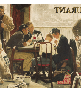 Stampa su tela: Norman Rockwell - Saying Grace signed