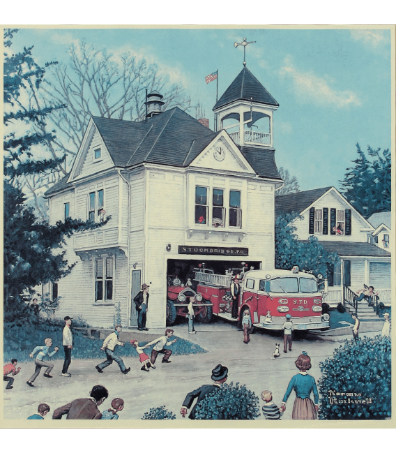 Printing on canvas: Norman Rockwell - The New American LaFrance is Here