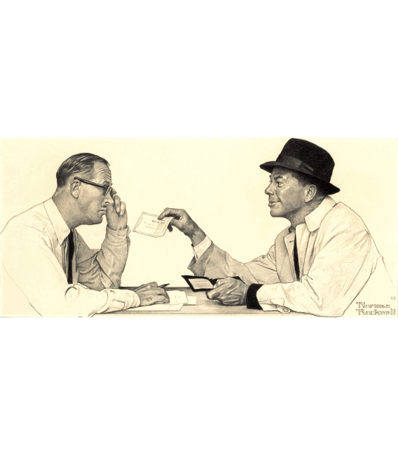 Stampa su tela: Norman Rockwell - Two Men conversing