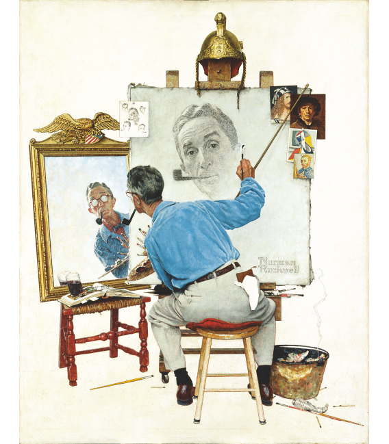 Printing on canvas: Norman Rockwell - Triple Self Portrait.png