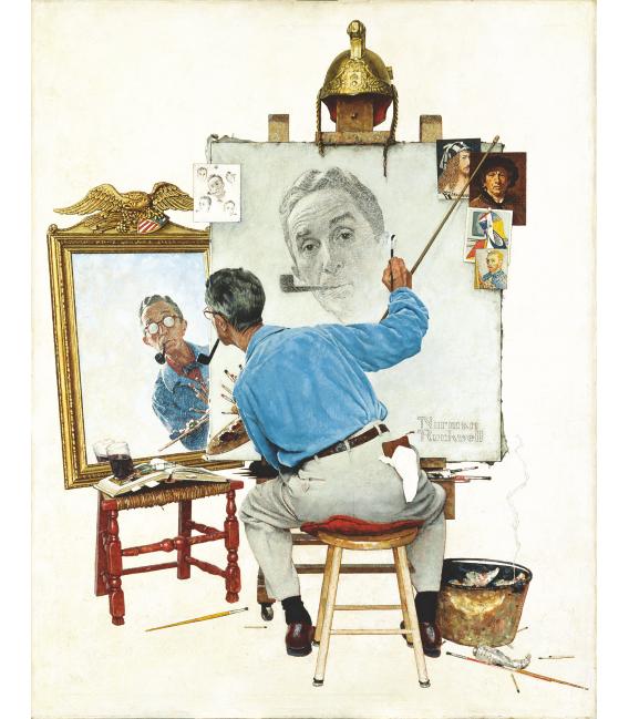 Stampa su tela: Norman Rockwell - Triple Self Portrait.png