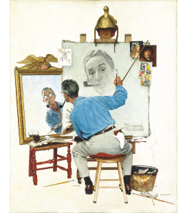 Norman Rockwell - Triple Self Portrait.png. Printing on canvas