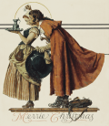 Norman Rockwell - Under the Mistletoe signed. Printing on canvas