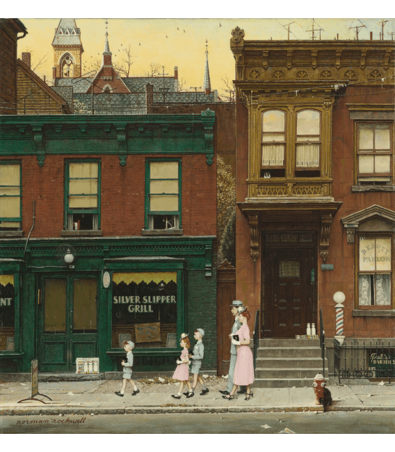 Printing on canvas: Norman Rockwell - Walking to church