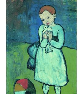 Stampa su tela: Picasso Pablo - Bambino con colomba