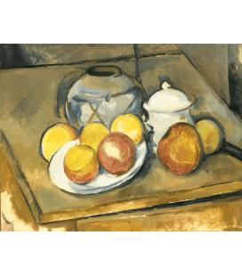 Stampa su tela: Paul Cézanne - Vase garnis de paille, sucrier et pommes