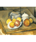 Paul Cézanne - Vaso pieno di paglia, zucchero e mele. Stampa su tela