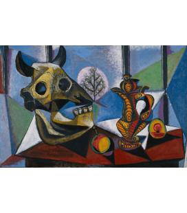 Stampa su tela: Picasso Pablo - Cranio di toro, frutta, brocca