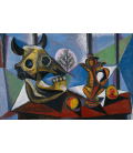 Picasso Pablo - Cranio di toro, frutta, brocca. Stampa su tela